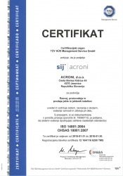 Certifikat ISO 14001 BS OHSAS 18001val 2018