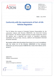Conformity with the requirements of End of Life Vehicles reg